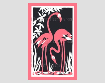Art Deco Pink Flamingos, Flamingos Cross Stitch, Flamingos, Cross Stitch Pattern, Flamingos Needlepoint, Silhouettes from NewYorkNeedleworks
