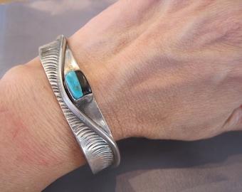 Vintage Sterling Turquoise Onyx Hopi Cuff Bracelet
