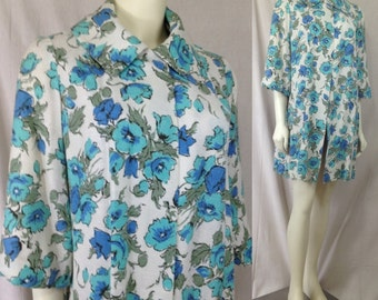 Floral Janet Norwood Exclusive spring coat 1950s floral Mad Men swing Three quarter sleeves