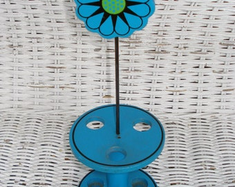 SALE Vintage 1960s Mod Blue Daisy Toothbrush Holder