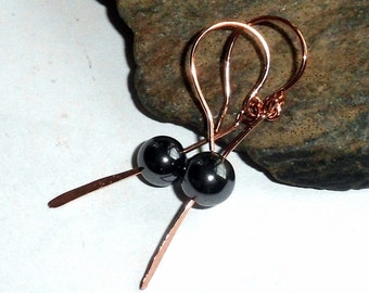 Hematite Gemstone Paddle Earrings Copper Energy earthegy