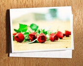 "Valentine Love CARD ""Garden of Love"" Love Card, Beach, Red Roses Card, Love Flower Card, Wedding Card, Valentine Card"