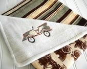 new baby boy baby blanket antique car appliqué brown and sage green