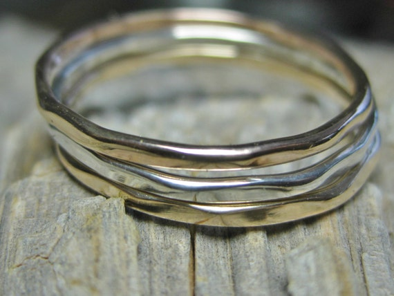Tri Color Stacking Ring Set Rose Gold Fill, Yellow Gold Fill & Sterling Silver Bands