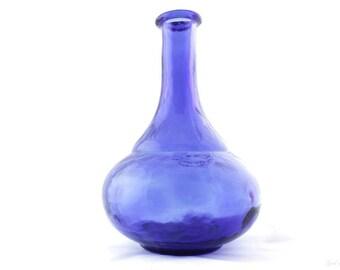 Vintage Vase - Glass Blue Flower Display Decor House Ware Decoration Large