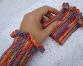 Crochet cuff wrist warmer with scalloped edging in multitude of colors - READY TO SHIP