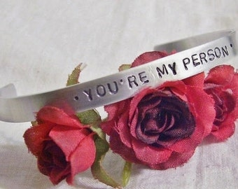 Hand stamped You're my person silver cuff bracelet inspired by Greys Anatomy