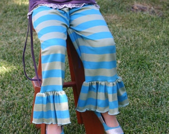 SALE turquoise and moss green stripe knit ruffle pants sizes 12m - 14 girls
