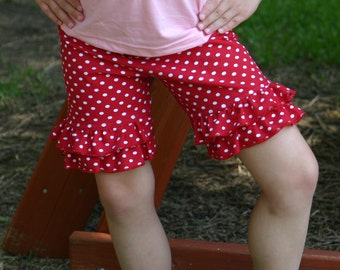 red with white dots knit double ruffle shorts shorties sizes 12m - 14 girls