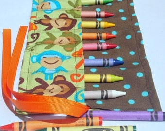Crayon Roll Up Crayon Holder Urban Zoologies Bermuda Monkeys - Holds 8 Crayons