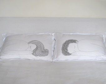 Girl and Boy Pillow Cases GREY- DOUBLE SET