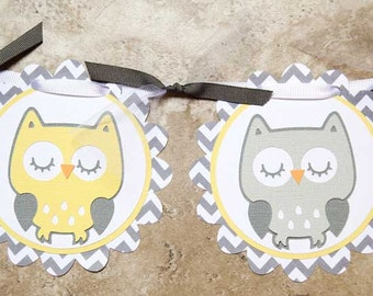 """Owl Themed Birthday or Shower Banner- """"It's Twins""""- yellow grey chevron- 8 characters and 2 owls"""