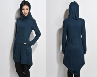 Asymmetrical  Wool Blend Dress with High-collar/ Any Size / Hoodie Dress / 8 Colors/ RAMIES