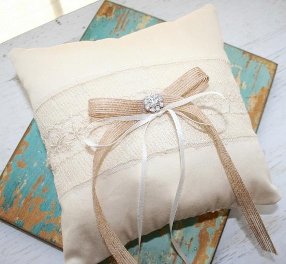 Items similar to Ring Pillow, Rustic Wedding, Shabby Chic, Vintage - Hemp Bow - Crystal Brooch ...