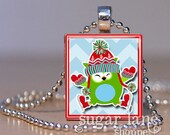 Ice Skating Owl Necklace - (COA3 - Red, White, Green, Aqua) - Scrabble Tile Pendant with Chain