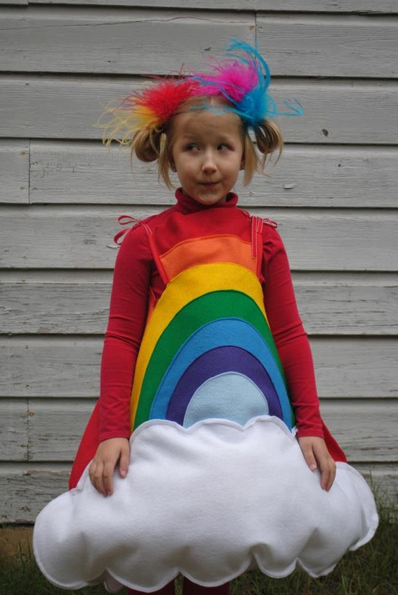 Handmade felt Rainbow costume for Toddler to wear for Halloween Red Orange Yellow Green Blue Violet with White Cloud