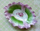 Whimsical Fairy, Antique Floral, Shabby Chic, Pink and Green Trinket, Candy, Nut, Soap Dish