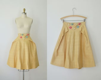 1950s  Skirt / 50s Sculptural Linen Skirt