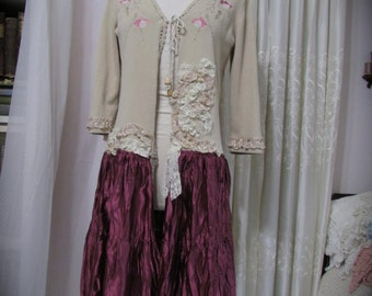 Long Bohemian Sweater Coat, altered couture, upcycled clothing, womens recycled clothing MEDIUM
