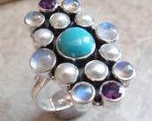 Moonstone Amethyst  Ring Turquoise Sterling Silver Pearl Size 11 Nicky Butler Vintage 082213RO