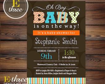 Baby Boy Shower Invitation - Boys Brown, Green, Aqua, Orange Shower - Chevron, Polka Dots Stripes