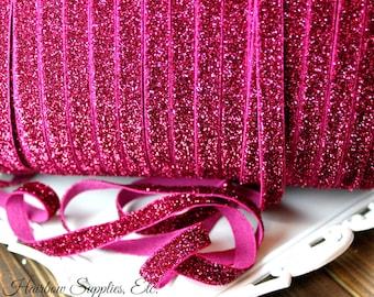 Fuchsia Glitter Elastic 3/8 inch - Choose from 1-10 yards for Headbands Hair Ties Baby Headband Hairbow Supplies, Etc.