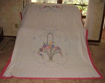Embroidered summer bedspread - muslin  - flower basket - rose colored border - 70 x 88 in.