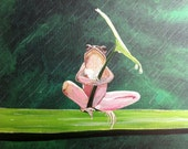 Sitting in the rain- 12 x 24,  frog holding leaf acrylic on canvas, ready to hang, ORIGINAL by Michael H. Prosper