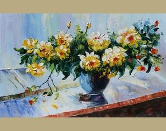 Passion 23 x 36 Original Oil Painting Palette Knife Vase Bouquet Textured Colorful Pale Yellow Orange Roses Calm Romantic by Marchella