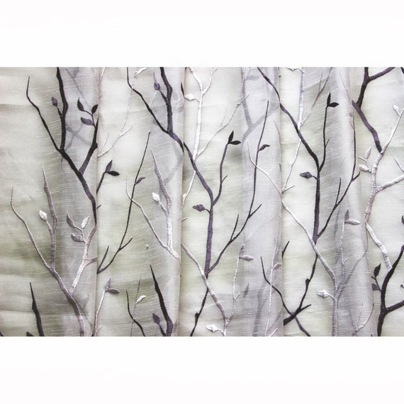 Purple Wine N Lavender Trees Embroidered Sheer Curtain Fabric By The ...