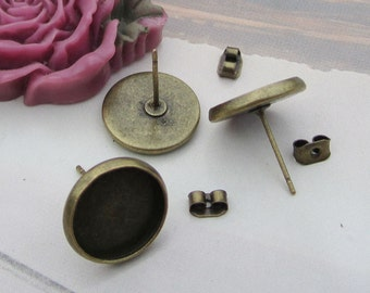 Earring Posts--100 pcs (50 pairs) Antique brass Earring Studs Back Stopper earnuts with 12mm Pads,antique bronze Cameo Base Setting