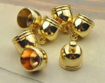 Metal caps,20pcs Gold end Cap connectors,brass cap 10x12mm