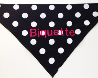 Hot Pink and Black Polka Dot Monogrammed Dog Bandana - Personalized Bandana - Personalized Dog - Dog Scarf