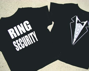 Ring Bearer shirt Tuxedo - RING SECURITY  Tshirt -Child size Tux shirt- Free US Shipping -Ringbearer, Rehearsal dinner - Super Cute