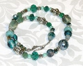 Blue Green Silver Mixed Bead Indie Necklace Boho Chic Bohemian Free Spirit Hippie Jewelry