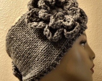 Hand Knit soft Acrylic Heather Gray Wide Button Back Headband - Headwrap with X-Large Crochet Flower