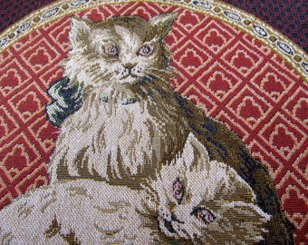 FrenchTAPESTRY CATS  14 inch pillow front