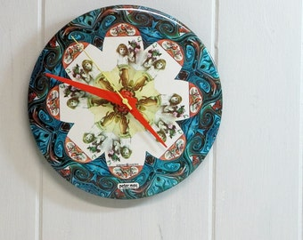 Wall Clock, Peter Max, Psychedelic, Flower Girl, Battery Upcycled