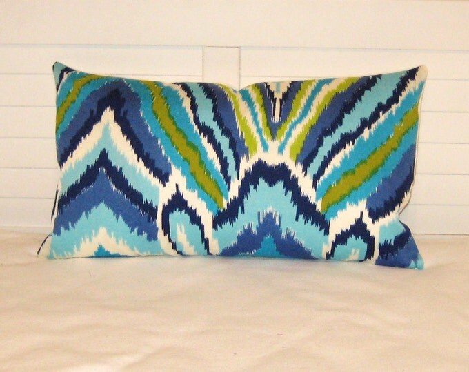 Trina Turk for Schumacher Peacock Print in Pool  (Both Sides) Lumbar Pillow Cover - Designer Pillow Cover