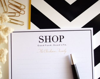 Shopping List Personalised Notepad - Custom Stationery Monogram Organiser Note Pad