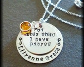 Hand Stamped Personalized Silver Necklace For This Child I Have Prayed New Font, for Baby, New Mother, Adoption, Christening Gift