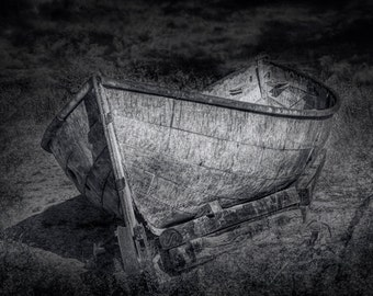 Beached Boat on the Beach by Sturgeon Point on the Lake Huron Shore in Michigan A Black and White Fine Art Horizontal Seascape Photograph
