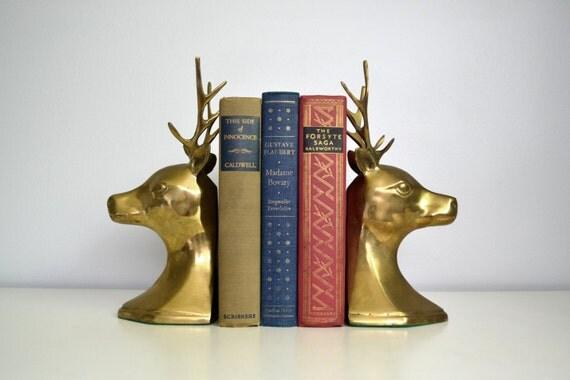 Vintage brass bookends deer head with antlers by saltandginger - Deer antler bookends ...
