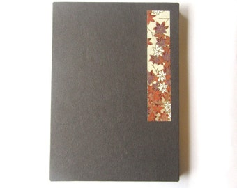 6x4 accordion photo album, journal, sketchbook - chocolate brown with autumn maple leaves