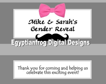 Gender Reveal Baby Shower Full Size Candy Bar Wrappers - Colors/Designs Customizable -  You Print