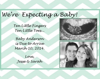 Pregnancy/Expecting Announcement Featuring Your Ultrasound - Any Color Chevron - You Print