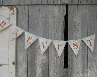 Shabby Painted Style HARVEST Burlap Banner for Fall Autumn Thanksgiving Party Decor Photo Prop
