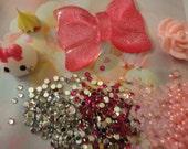 Kawaii decoden deco diy charm cabochon pink bow and teardrop starter kit mini  100---USA seller