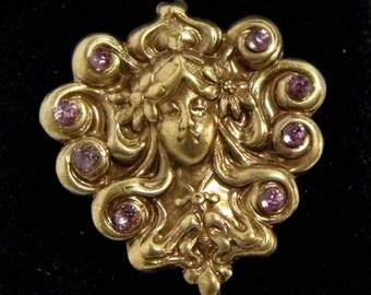 Golden Medusa ring, Art Nouveau jewellery, Mucha jewelry, Victorian ring, adjustable ring, goddess jewellery