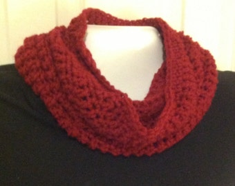 Scarf infinity cowl tall deep red